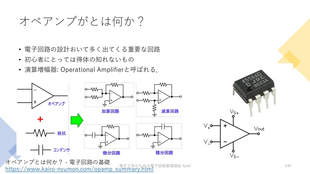 オペアンプがとは何か? • 電⼦回路の設計おいて多く出てくる重要な回路 • 初⼼者にとっては得...