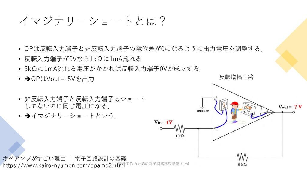 イマジナリーショートとは? • OPは反転⼊⼒端⼦と⾮反転⼊⼒端⼦の電位差が0になるように出⼒...