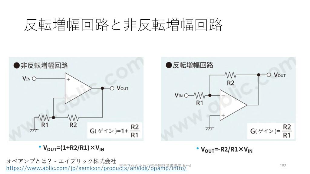 反転増幅回路と⾮反転増幅回路 152 オペアンプとは? - エイブリック株式会社 https:...