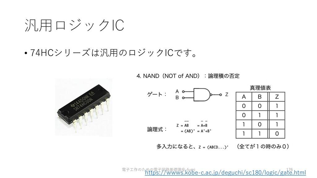 汎⽤ロジックIC • 74HCシリーズは汎⽤のロジックICです。 https://wwws.k...