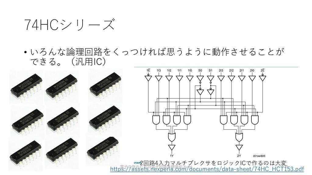74HCシリーズ • いろんな論理回路をくっつければ思うように動作させることが できる。(汎⽤...