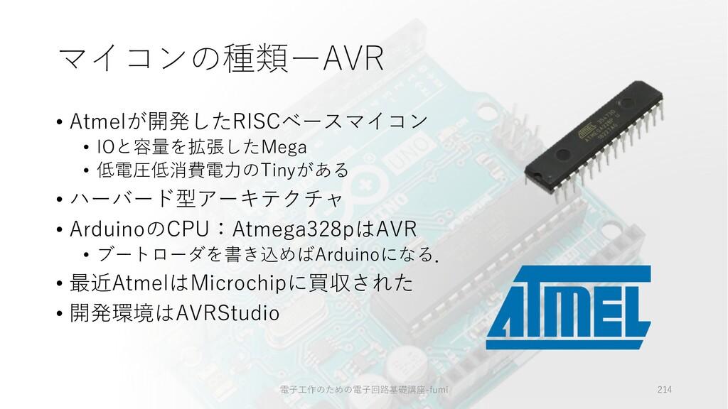 マイコンの種類ーAVR • Atmelが開発したRISCベースマイコン • IOと容量を拡張し...