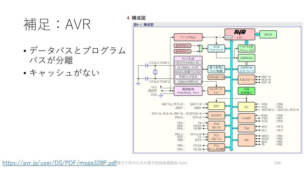 補⾜:AVR • データバスとプログラム バスが分離 • キャッシュがない 電⼦⼯作のための電...