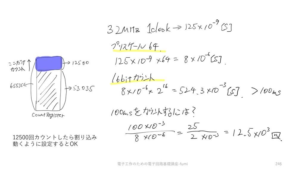電⼦⼯作のための電⼦回路基礎講座-fumi 246 12500回カウントしたら割り込み 動くよ...