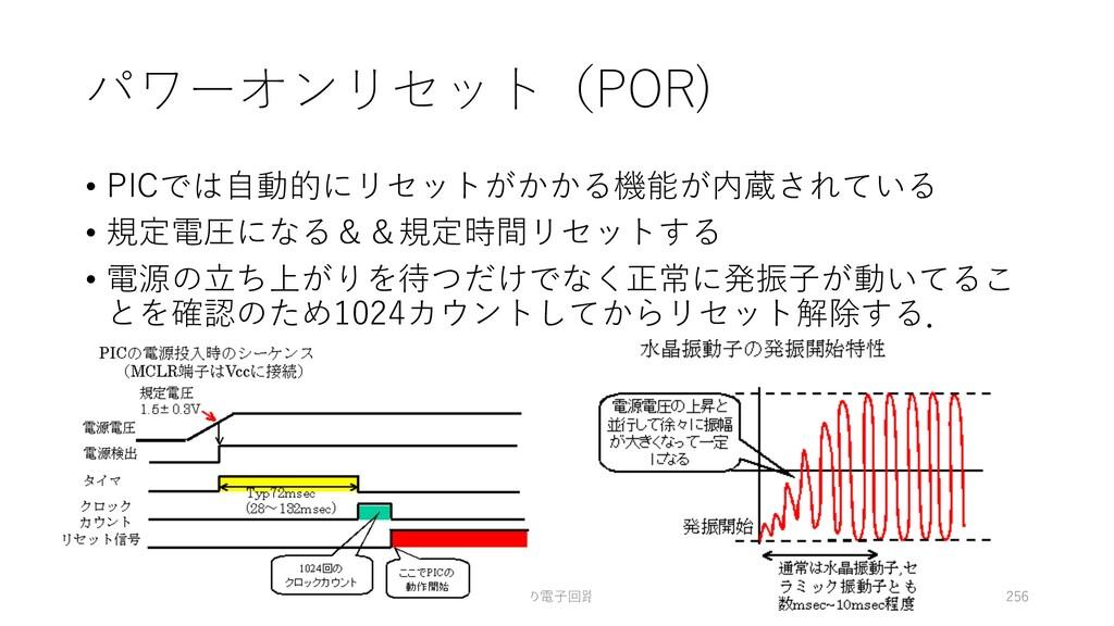 パワーオンリセット(POR) • PICでは⾃動的にリセットがかかる機能が内蔵されている • ...