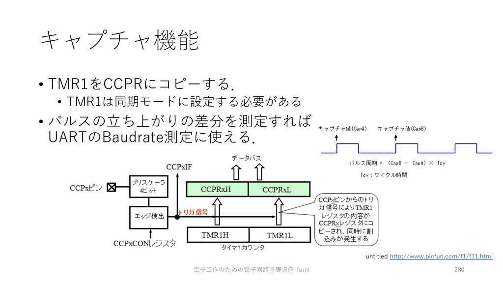 キャプチャ機能 • TMR1をCCPRにコピーする. • TMR1は同期モードに設定する必要が...