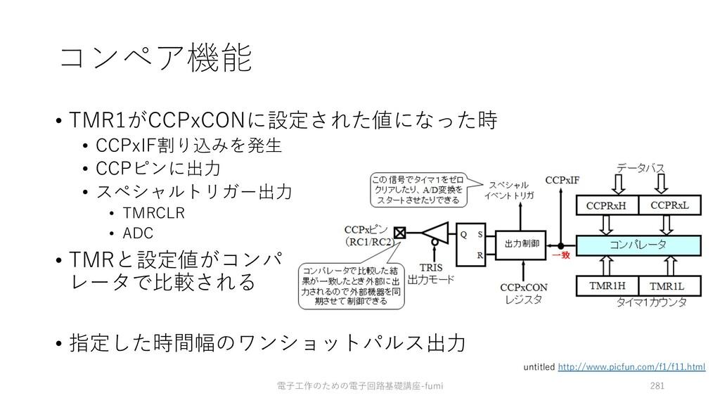コンペア機能 • TMR1がCCPxCONに設定された値になった時 • CCPxIF割り込みを...