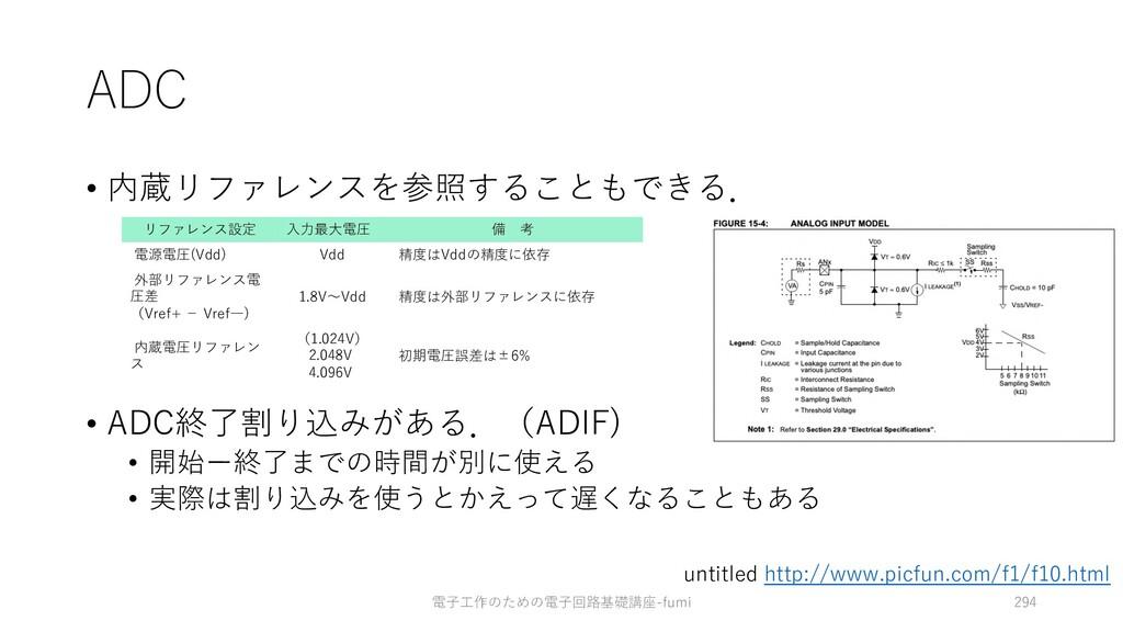 ADC • 内蔵リファレンスを参照することもできる. • ADC終了割り込みがある.(ADIF...