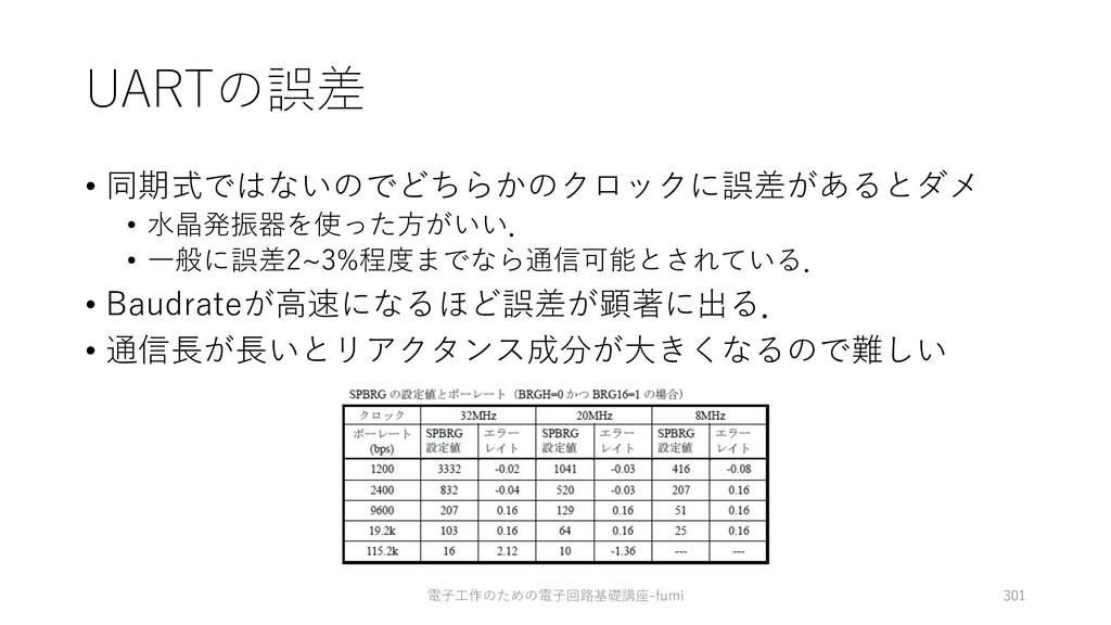 UARTの誤差 • 同期式ではないのでどちらかのクロックに誤差があるとダメ • ⽔晶発振器を使...