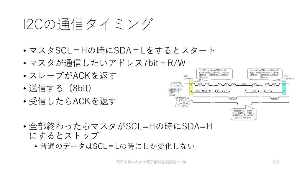 I2Cの通信タイミング • マスタSCL=Hの時にSDA=Lをするとスタート • マスタが通信...