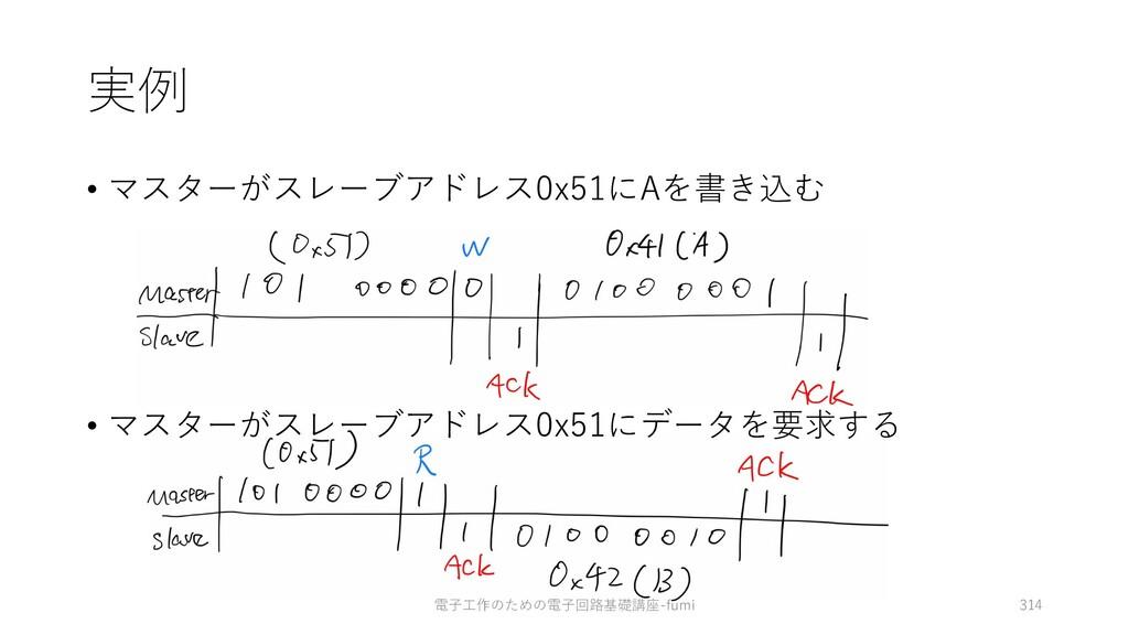 実例 • マスターがスレーブアドレス0x51にAを書き込む • マスターがスレーブアドレス0x...