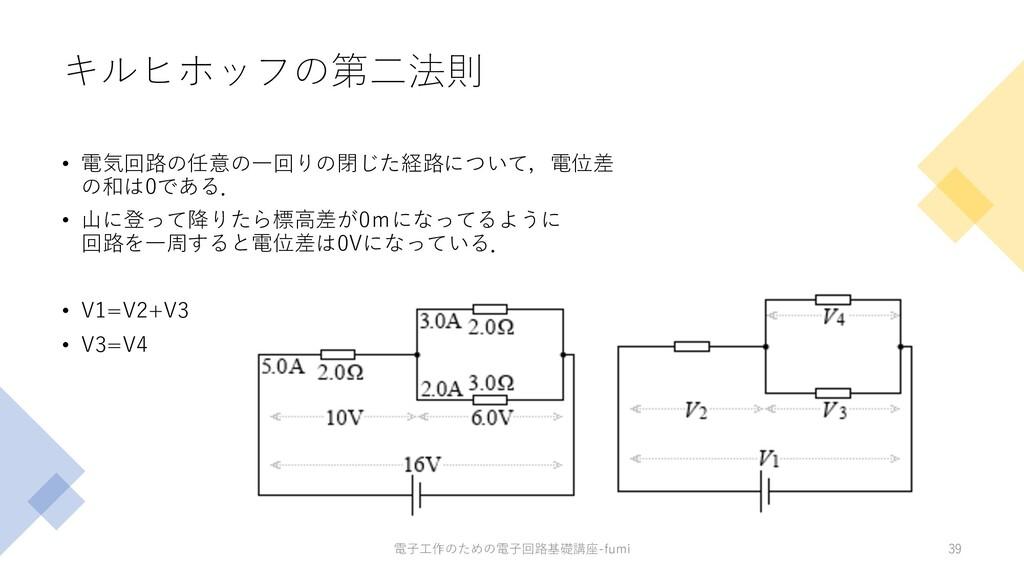 キルヒホッフの第⼆法則 • 電気回路の任意の⼀回りの閉じた経路について,電位差 の和は0である...
