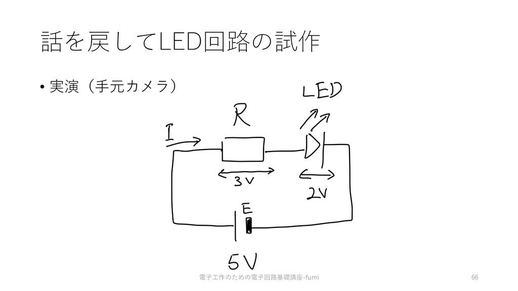 話を戻してLED回路の試作 • 実演(⼿元カメラ) 66 電⼦⼯作のための電⼦回路基礎講座-f...