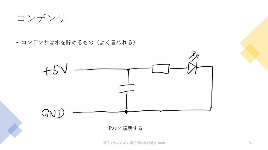コンデンサ • コンデンサは⽔を貯めるもの(よく⾔われる) 74 iPadで説明する 電⼦⼯作...