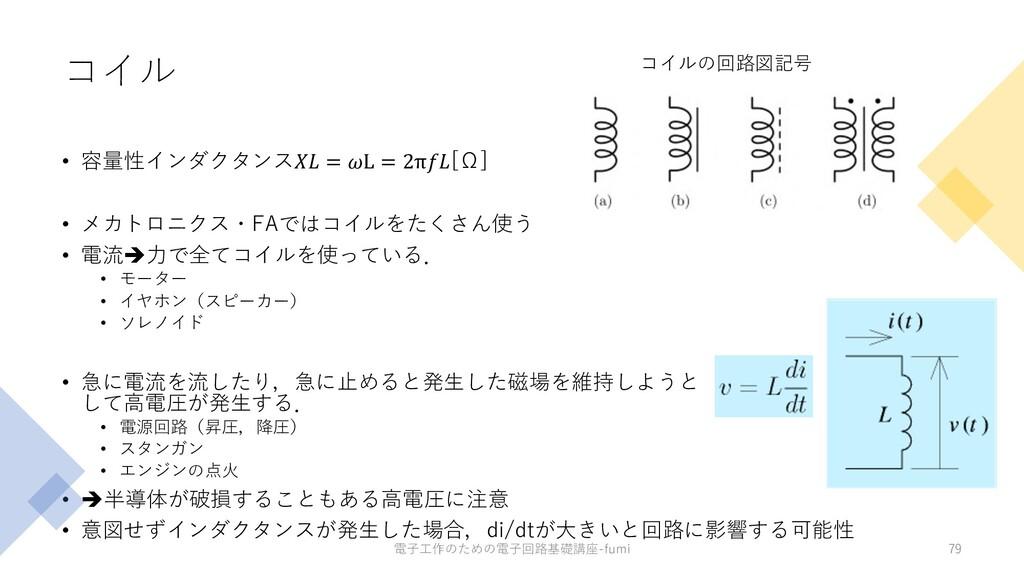 コイル • 容量性インダクタンス = L = 2π[Ω] • メカトロニクス・FAではコイルを...