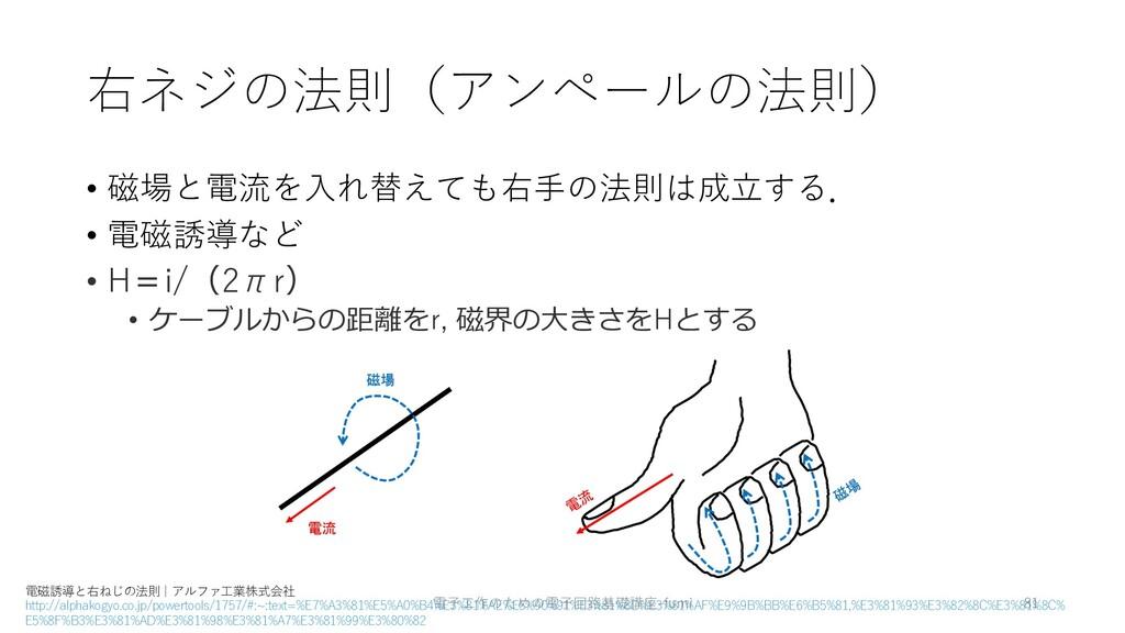 右ネジの法則(アンペールの法則) • 磁場と電流を⼊れ替えても右⼿の法則は成⽴する. • 電磁...
