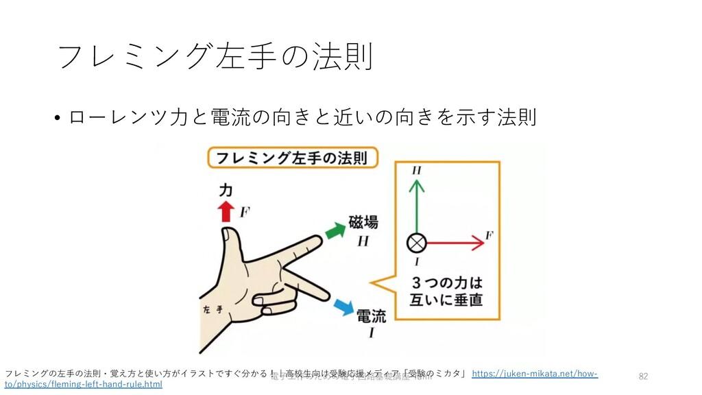 フレミング左⼿の法則 • ローレンツ⼒と電流の向きと近いの向きを⽰す法則 電⼦⼯作のための電⼦...
