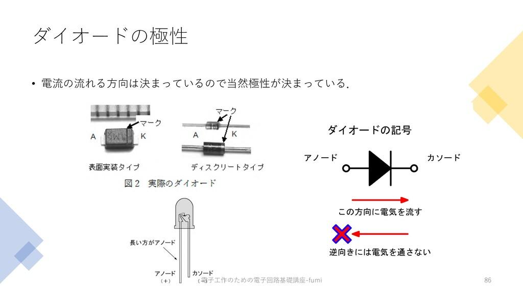 ダイオードの極性 • 電流の流れる⽅向は決まっているので当然極性が決まっている. 86 電⼦⼯...