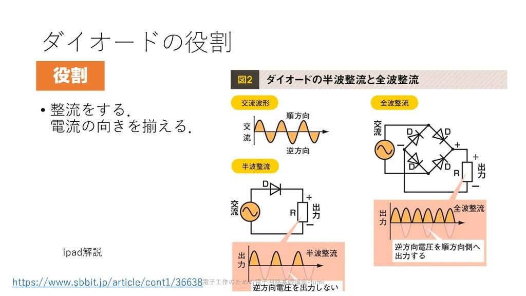 ダイオードの役割 • 整流をする. 電流の向きを揃える. 87 ׂ ipad解説 https...