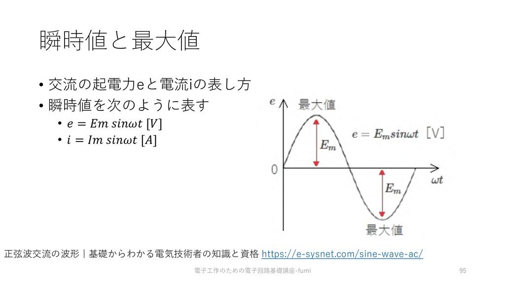 瞬時値と最⼤値 • 交流の起電⼒eと電流iの表し⽅ • 瞬時値を次のように表す •  =   ...