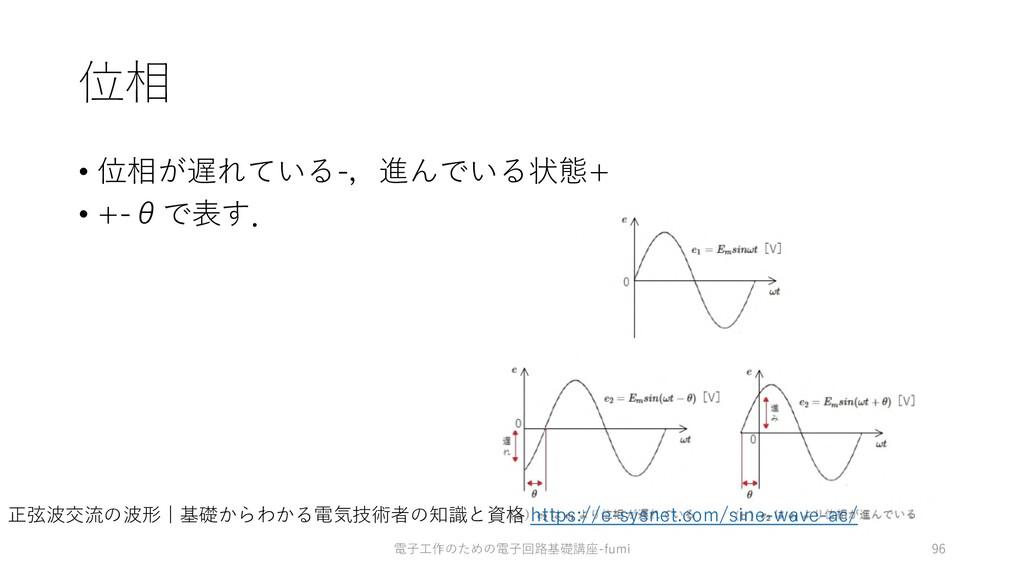 位相 • 位相が遅れている-,進んでいる状態+ • +-θで表す. 電⼦⼯作のための電⼦回路基...