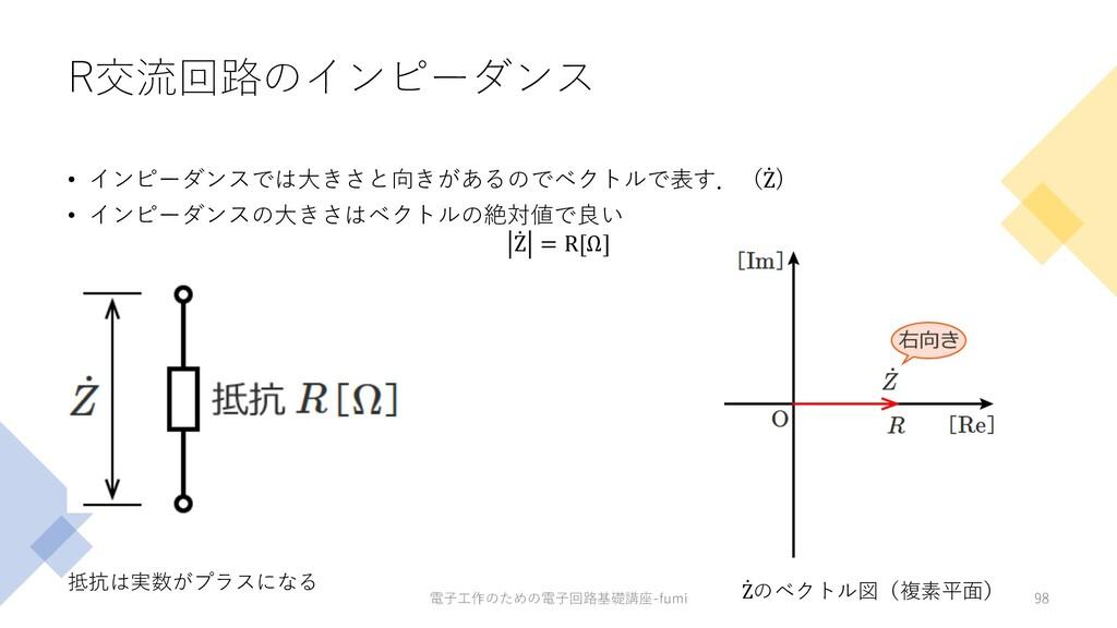 R交流回路のインピーダンス • インピーダンスでは⼤きさと向きがあるのでベクトルで表す.( ̇...