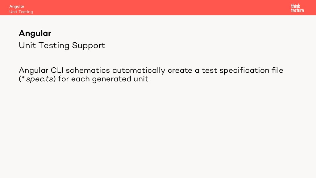 Unit Testing Support Angular CLI schematics aut...