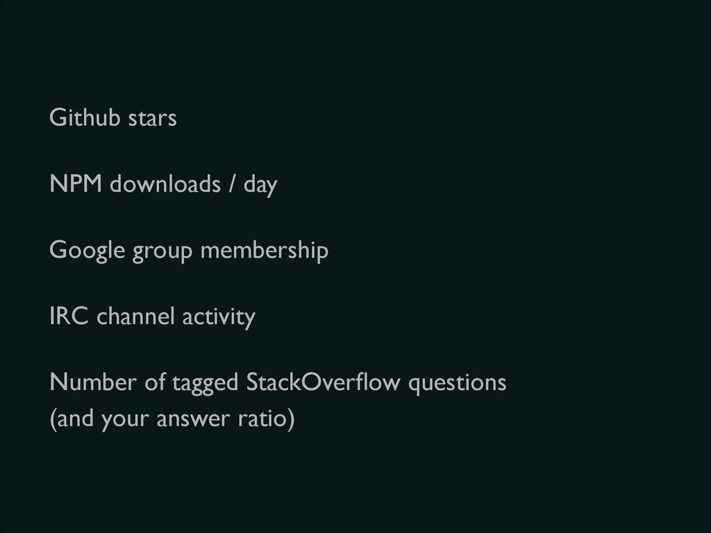 Github stars NPM downloads / day Google group m...