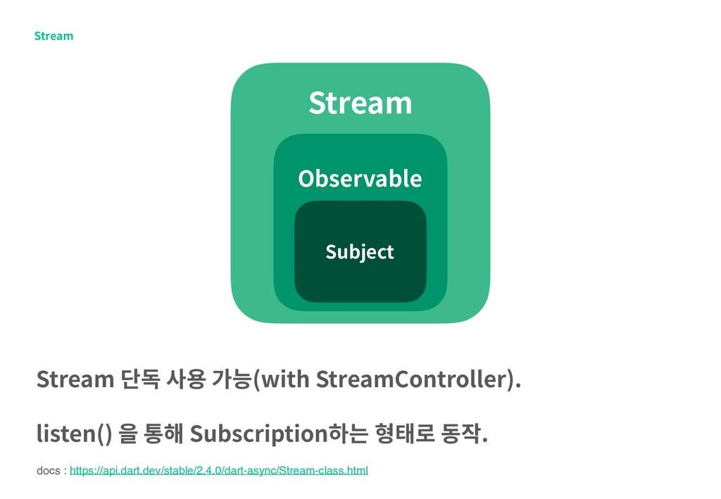 Stream Stream Observable Stream 단독 사용 가능(with S...