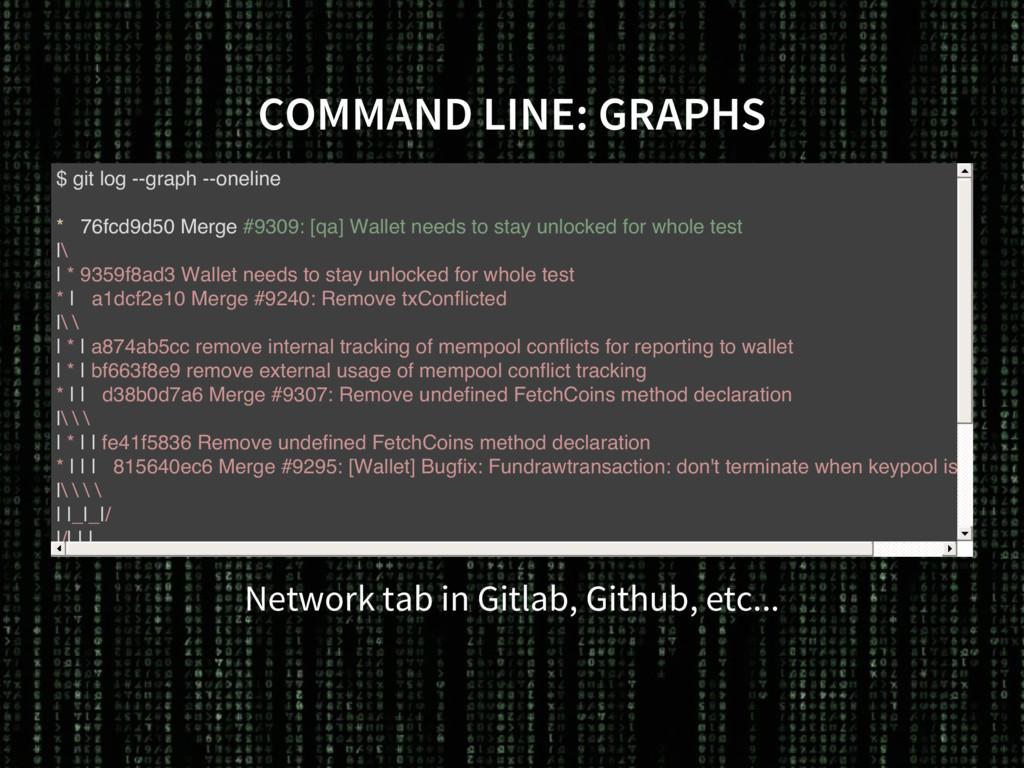 COMMAND LINE: GRAPHS Network tab in Gitlab, Git...