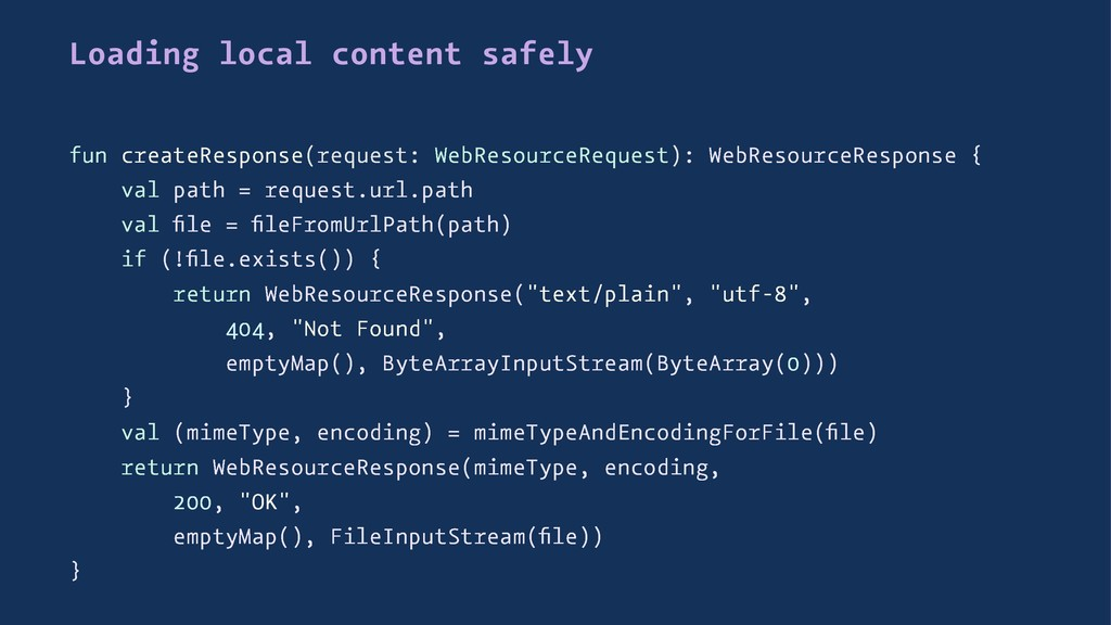 Loading local content safely fun createResponse...