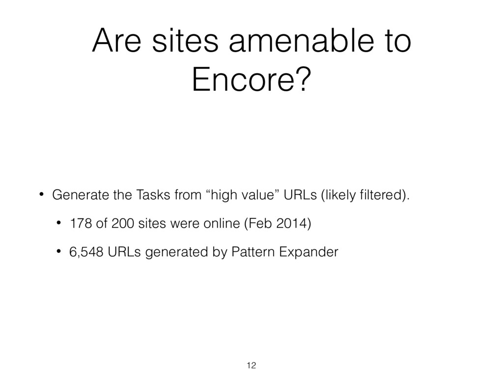Are sites amenable to Encore? • Generate the Ta...