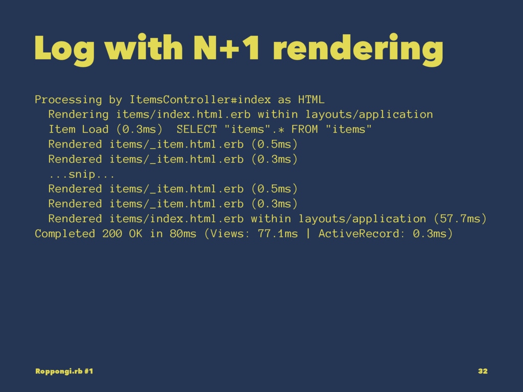Log with N+1 rendering Processing by ItemsContr...
