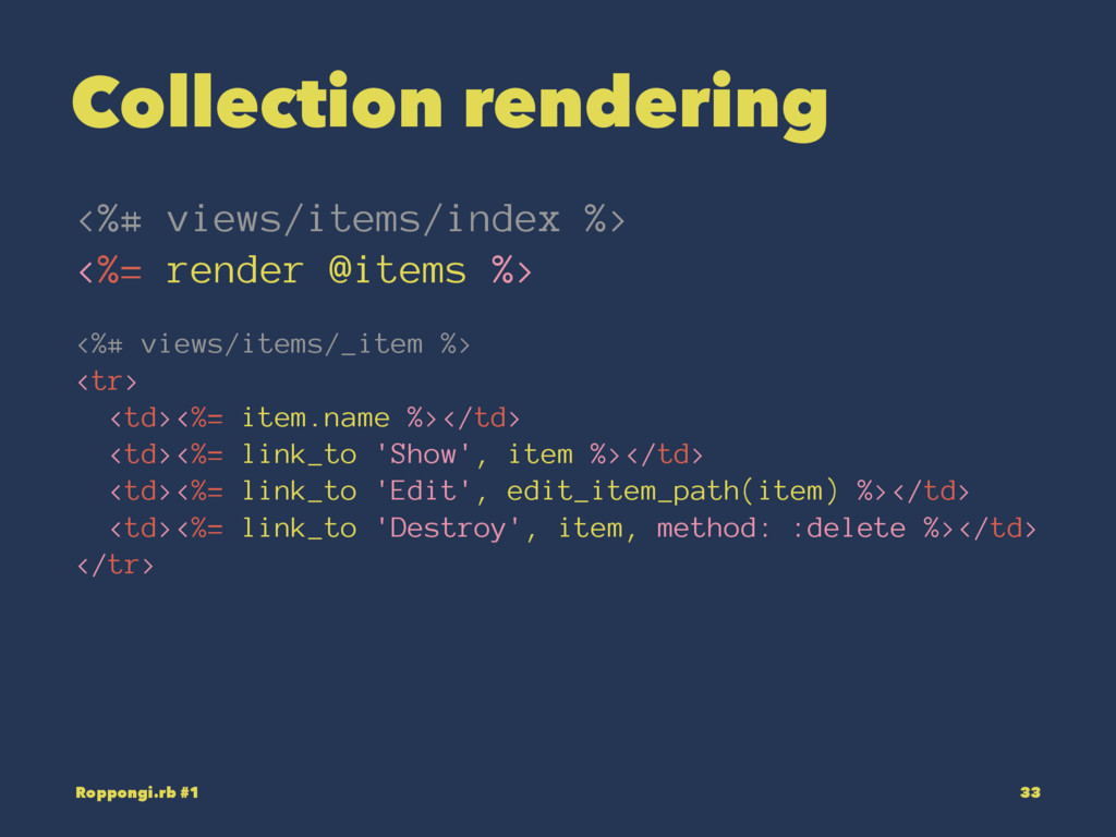 Collection rendering <%# views/items/index %> <...