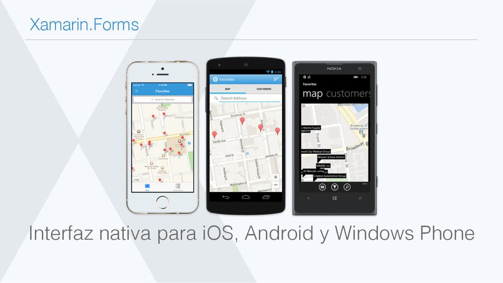 Xamarin.Forms Interfaz nativa para iOS, Androi...