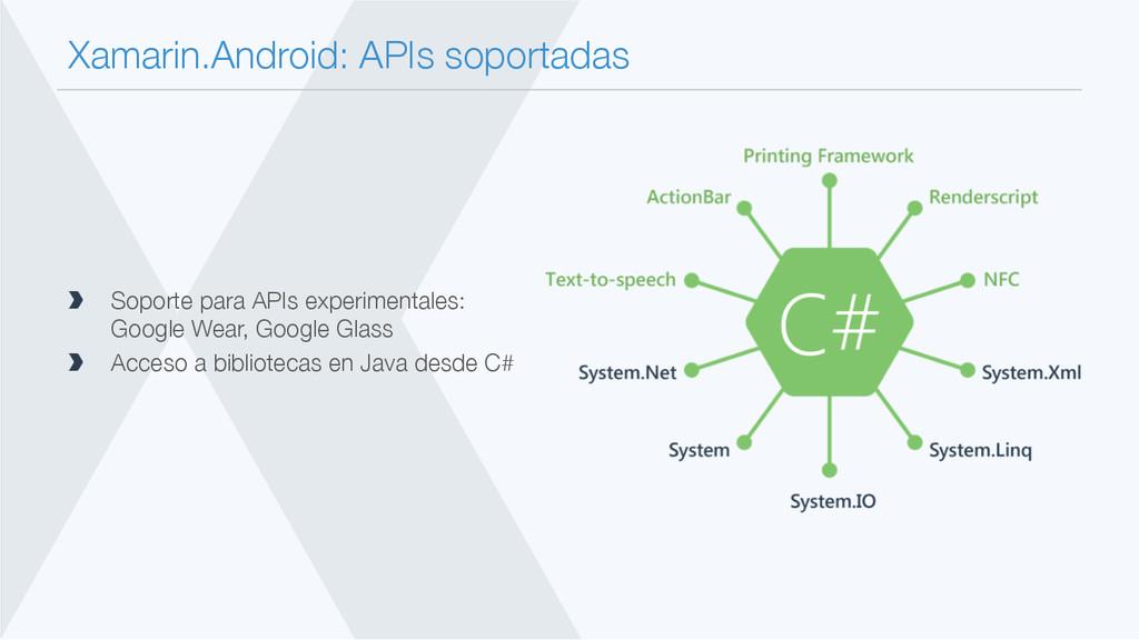 Xamarin.Android: APIs soportadas  Soporte par...
