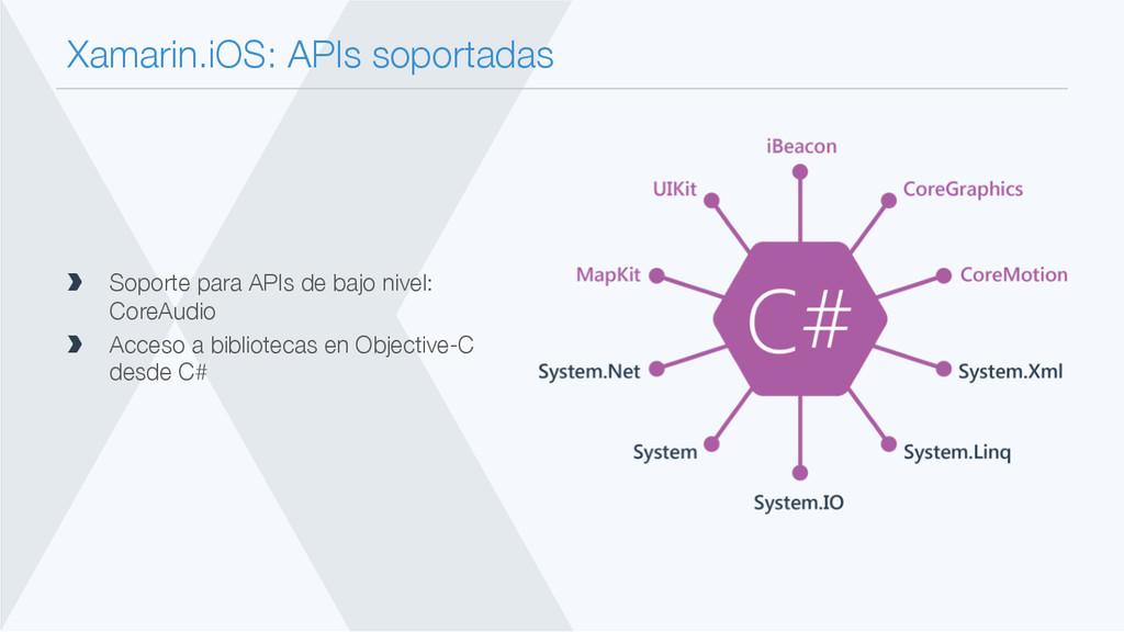 Xamarin.iOS: APIs soportadas  Soporte para AP...