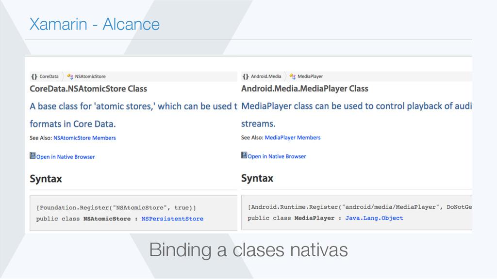 Xamarin - Alcance Binding a clases nativas