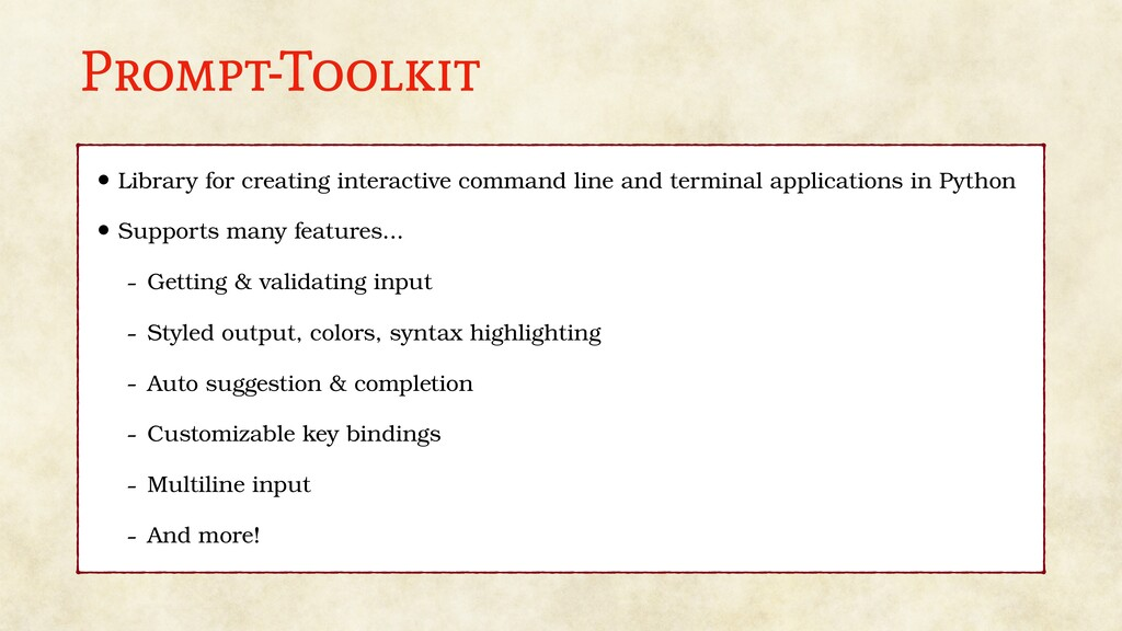 Prompt-Toolkit • Library for creating interacti...