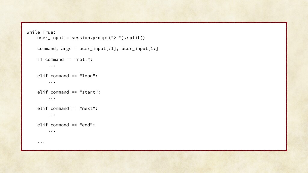 """while True: user_input = session.prompt(""""> """").s..."""