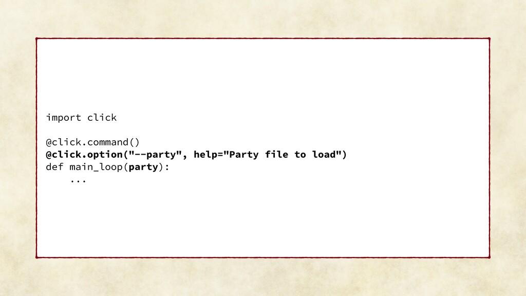 """import click @click.command() @click.option(""""--..."""