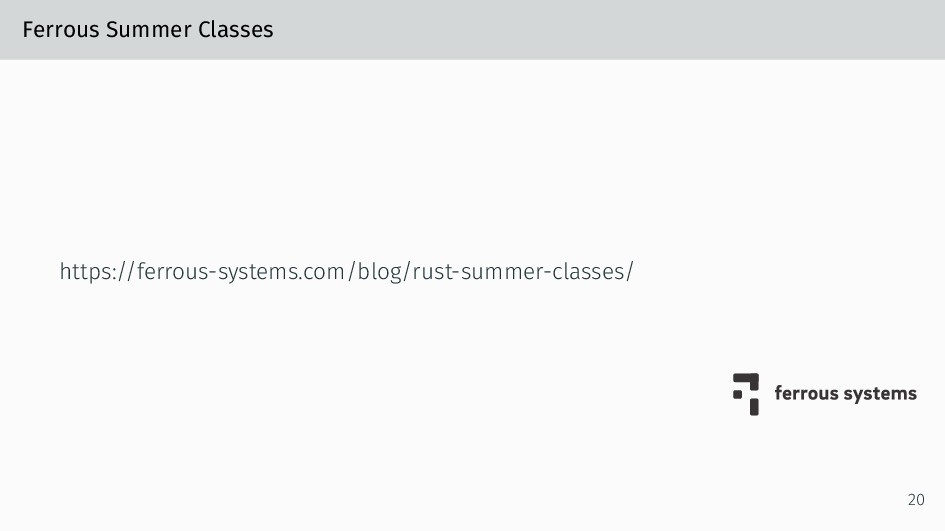 Ferrous Summer Classes https://ferrous-systems....