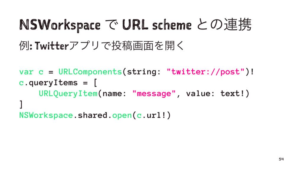 NSWorkspace Ͱ URL scheme ͱͷ࿈ܞ ྫ: TwitterΞϓϦͰߘը...