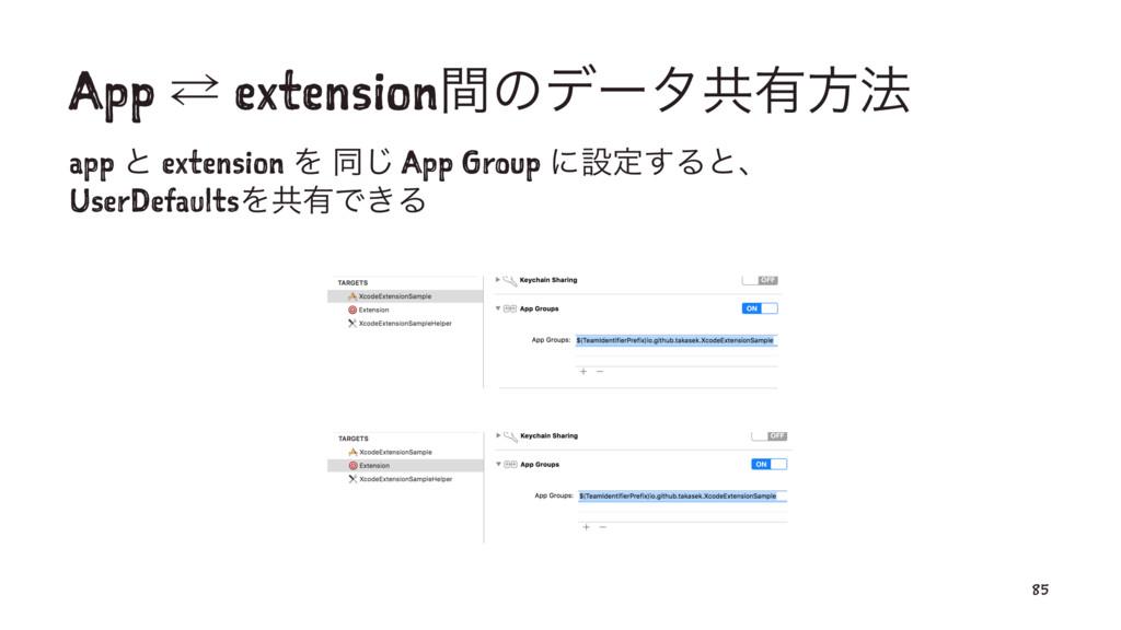 App ⁶ extensionؒͷσʔλڞ༗ํ๏ app ͱ extension Λ ಉ͡ A...