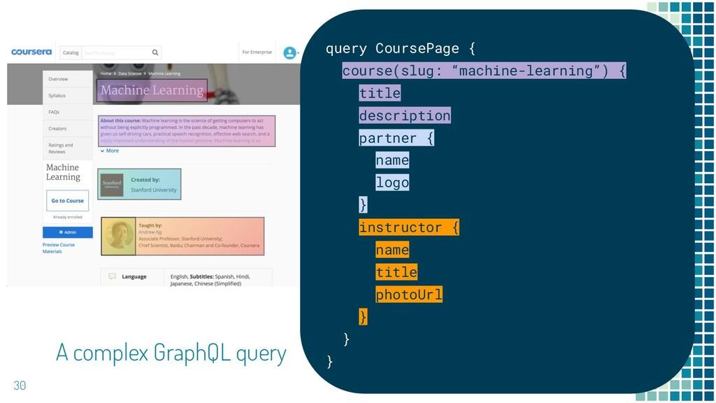 30 A complex GraphQL query query CoursePage { c...