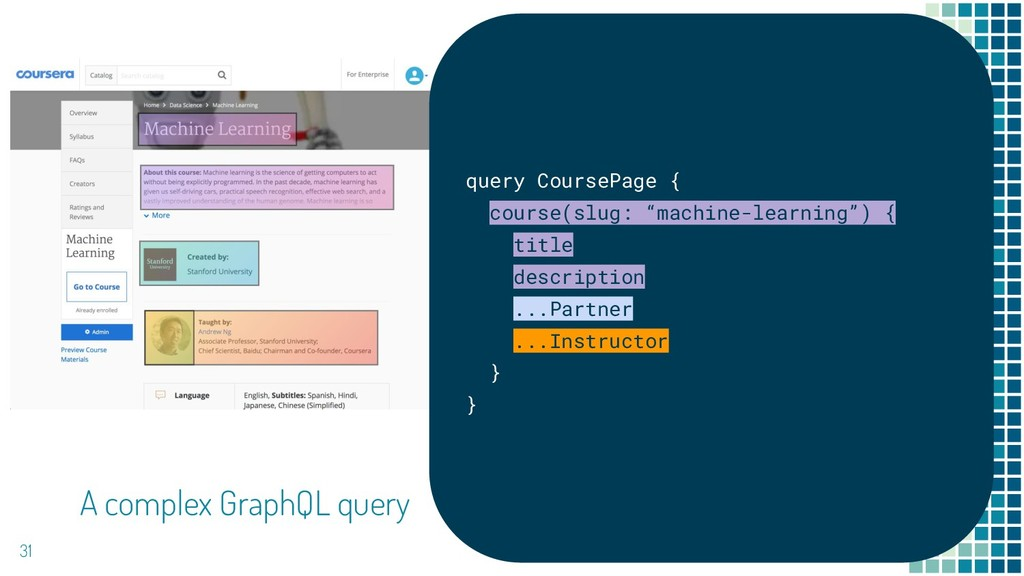 31 A complex GraphQL query query CoursePage { c...