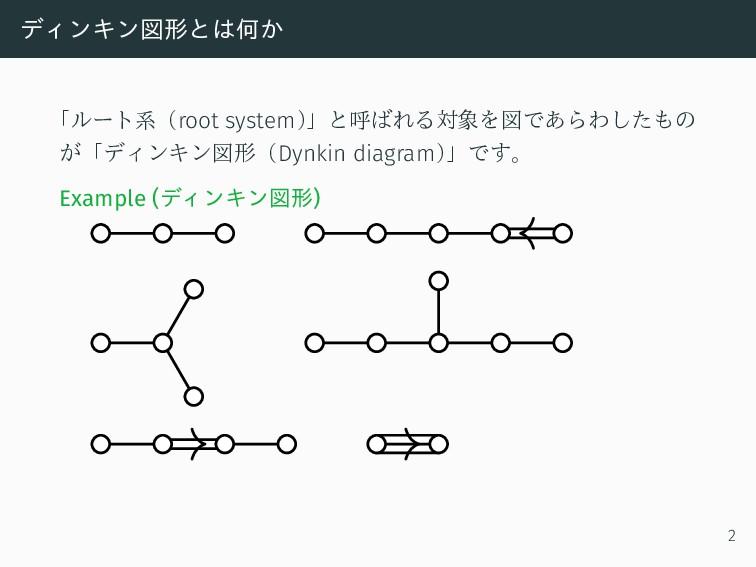 ディンキン図形とは何か 「ルート系(root system) 」と呼ばれる対象を図であらわした...