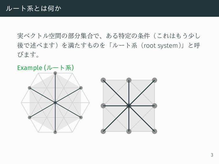 ルート系とは何か 実ベクトル空間の部分集合で、ある特定の条件(これはもう少し 後で述べます)を...