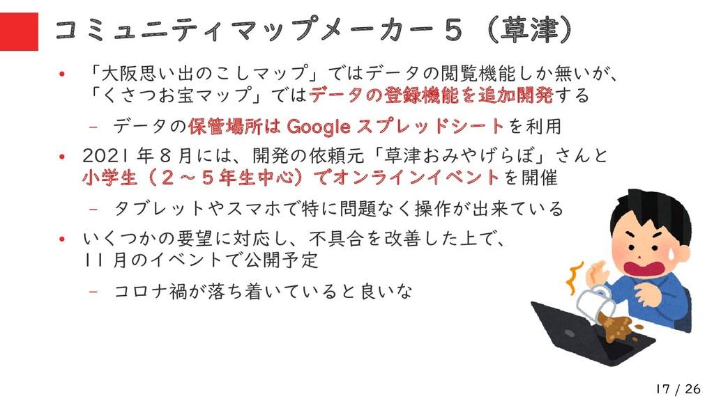 17 / 26 ● 「大阪思い出のこしマップ」ではデータの閲覧機能しか無いが、 「くさつお宝マ...