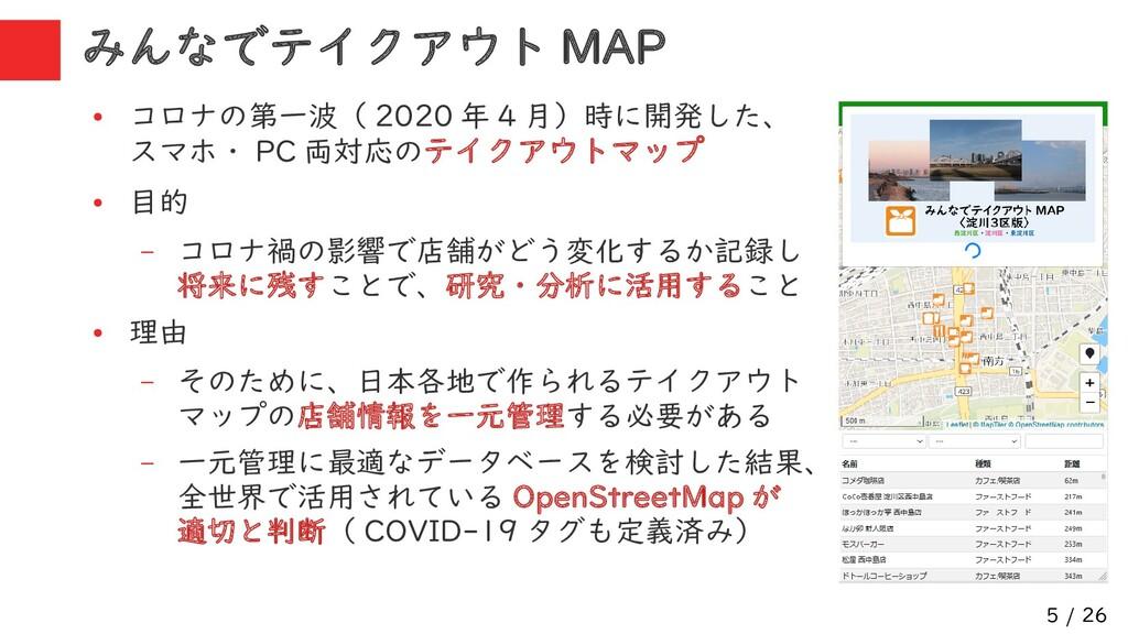 5 / 26 みんなでテイクアウト MAP ● コロナの第一波( 2020 年 4 月)時に開...